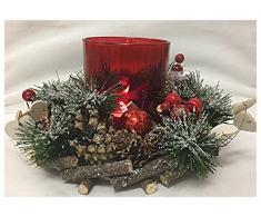 Centrotavola Ghirlanda natalizia con Bicchiere Portacandela H12x22cm