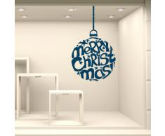 NT0316 Adesivi Murali Vetrofanie natalizie - Pallina con stelline - Misure 58x100 cm - blu - Vetrine negozi per Natale, stickers, adesivi