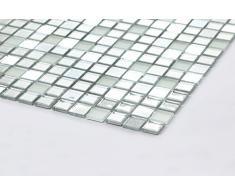 Piastrelle in vetro mosaico 30 cm x 30 cm, argento opaco, specchio e glitter (MT0046)
