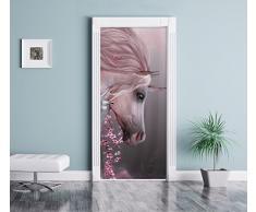 splendido unicorno come Murale, Formato: 200x90cm, telaio della porta, adesivi porta, porta decorazione, autoadesivi del portello