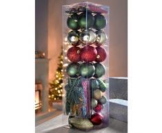 WeRChristmas - Set di decorazioni natalizie, con 72 palline in plastica infrangibile rosso/ oro/ verde