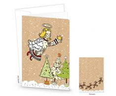Biglietti di Natale di set: 5 pezzi Christkind protezione di angelo biglietti in doppia copertura in marrone bianco verde giallo vintage nostalgia Look per bambini + adulti. Con Busta – geschaefltiche biglietti natalizi