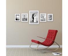 Set da 5 cornici per foto da 10x15, 15x20, 20x30 cm bianco moderno in legno massiccio con lastra in vetro e accessori / cornice per foto