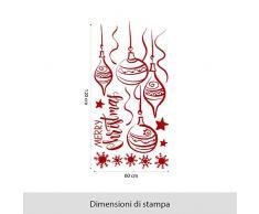 NT0022 Adesivi Murali - Decori di Natale - Vetrofanie natalizie - 60x120 cm - Bordeaux - Decorazioni vetrine per Natale, stickers, adesivi