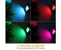 Onforu 4 Pezzi 12W RGB Faretto LED Colori, Proiettore LED Colorato con Telecomando, IP66 Impermeabile Esterno e Interno Faro LED RGB con Timer, Faro rgb per Feste Giardino Cortile Attività