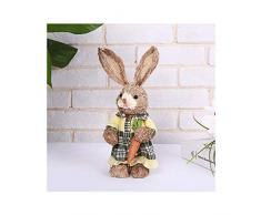 Incdnn - Grazioso coniglietto in paglia, decorazione pasquale, decorazione per casa, giardino, matrimonio