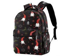 Zaino per ragazze Ragazzi Sacca da viaggio Bagagli Borsa da viaggio Daypack Cappello rosso carino Santa Claus Babbo Natale con tasche a rete con cerniera