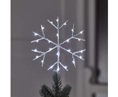 Lights4fun Puntale per Albero di Natale a Forma di Fiocco di Neve con LED Bianchi a Pile per Uso in Interni
