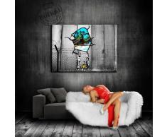 """'Graffiti Street Art """"Banksy tela 100 x 70 cm/tela montata su telaio/stampe artistiche, Nr. 3920 tela foto, immagini, Poster, dipinto, Pop Art decorazione Arte immagini da parete"""