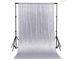 ShinyBeauty, tenda con lustrini da 60 cm x 213 cm, sfondo scintillante per decorazione di feste e sfondo per fotografie, Silver, 2FTx7FT