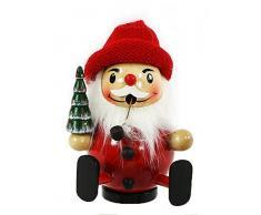 drolliger Bastoncini di legno di Babbo Natale seduto con berretto rosso, ca. 13 cm, Abete