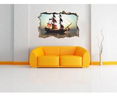 nave pirata su passaggi nel muro del mare nel look 3D, parete o in formato adesivo porta: 92x62cm, autoadesivi della parete, autoadesivo della parete, decorazione della parete