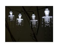 WER Natale 10 scheletri qui FIUME lic con luci bianche LED per la decorazione n Halloween, traslucido ANCORA acido