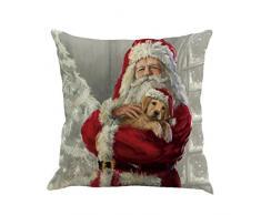 Cuscino di Christmas, Longra Buon Natale 45cmX45cm Babbo Natale stampato lenzuola Square Pillowcases (A)