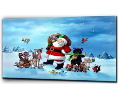 "Plush Prints Babbo Natale: Babbo Natale, stampa su tela, Bianco/Nero, 16"" x 24"""