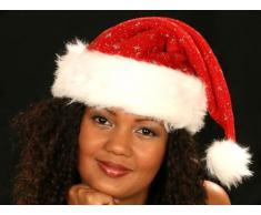 Alsino Cappello da Babbo Natale con PON PON e Bordo in Felpa (wm-01) Rosso Bianco per Adulti Uomo Donna