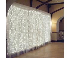 Luci della tenda,GEEDIAR 3 M x 3 M 300 LED Fata String luci ghiacciolo luce per la decorazione di Natale matrimonio partito Home (bianco)