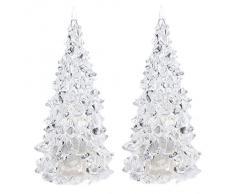 SODIAL (R) 2x Cambiare colore LED di cristallo artificiale Decorazione albero di Natale NATALE Night Light