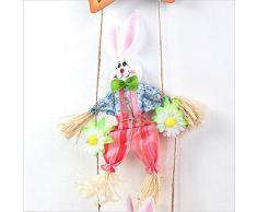 Dubleir Decorazione per Pasqua, in Legno, a Forma di Coniglio, Pasqua, Ghirlanda Pasqua, Decorazione da Parete per Festival