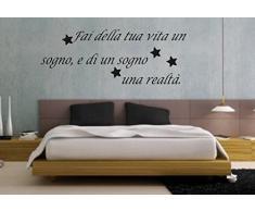 """wall stickers Adesivo murale """"Fai della tua vita un sogno ...... """" frasi, desideri, love - (148cm x 56cm) - adesivi murali decorazioni interni by tshirteria"""