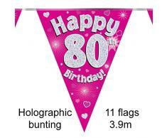 Happy 80° compleanno, rosa in alluminio olografico per feste con bandierine, lunghezza 3,9 m 11 bandierine