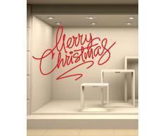 NT0199 Adesivi Murali - Merry Christmas 03 - Vetrofanie natalizie - 60x60 cm - oro - Decorazioni vetrine per Natale, stickers, adesivi
