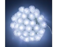 Collana 8 m, 40 Snow Ball, led bianco freddo, cavo verde, con giochi di luce, luci di Natale, luci natalizie, luci per lalbero di Natale