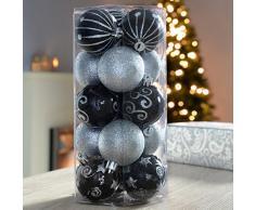 WeRChristmas, Set di 15 palline in plastica infrangibile per albero di Natale, Nero/Argento (silber/schwarz)