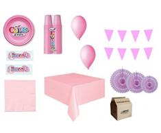 IRPot - KIT N 36 MONOCOLORE ADDOBBI FESTA COMPLEANNO PARTY DECORAZIONI ROSONE (KIT N 36 MONOCOLORE ROSA)