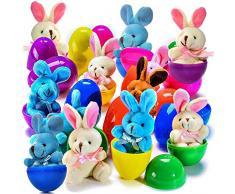 Prextex.com Uova di Pasqua Colorate 7,6 cm Riempite con Coniglio di Pelouche (Confezione da 12)