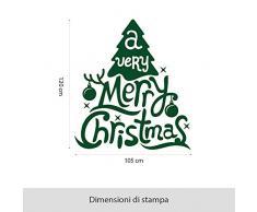 "NT0304 Adesivi Murali Vetrofania natalizia ""A Very Merry Christmas"" - Misure 105x120 cm - verde scuro - Vetrine negozi per Natale, stickers, adesivi"