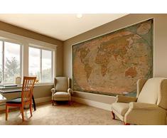 Mappa del mondo atlante globo - mappa storica del mondo FOTOMURALE - vintage retrò motivo - XXL mappe del mondo quadro da parete /decorazione da parete - old age world map 210 cm x 140 cm
