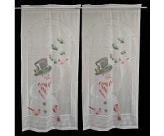 XuBa 2pcs Tende di Natale Babbo Natale Stampa Tende Stampate di Renne per Soggiorno Camera da Letto Tende Tessili per la casa Pupazzo di Neve Senza luci