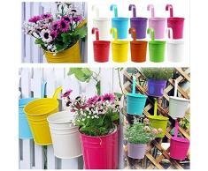 KING DO WAY 5 Pezzi di Vaso Colorato e Pensile in Metallo per Fiori e Piante, Vasi appesi di Fiori da Giardino, 5 Pz Colori Diversi