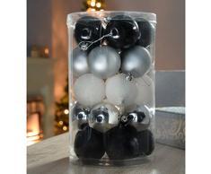 WeRChristmas - Confezione da 25 palle di natale per decorazioni/addobbi, colore: nero/argento