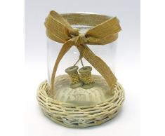 P.candela vetro c/base cesto - Addobbi natale-pasqua CREARE ITALIA