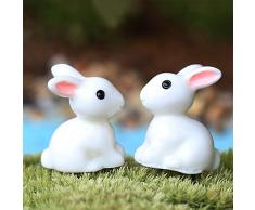 UxradG 2PCS coniglietto pasquale ornamento resina Fairy Garden decorazione dipinta a mano mini