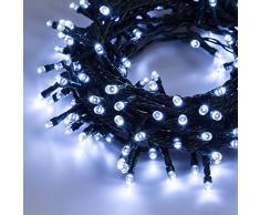 Catena 7,5 m, 180 led bianco freddo, con giochi di luce, cavo verde, EX Best Value, decorazioni luminose, luci per lalbero di Natale, luci natalizie