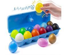 Prextex 12 Maracas Egg Shakers Giocattolo Musicale a percussione - 12 Uova di Pasqua in plastica a Colori in Scatola - Grande Giocattolo per lapprendimento del Ritmo per Bambini