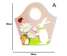 Class-Z Decorazioni pasquali, Sacchetto di immagazzinaggio Portatile Bunny Easter Egg, Borsa in Stoffa Stile Nordico