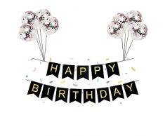 Banner di buon compleanno, stelle filanti di compleanno con 8 coriandoli e palloncini Kit di decorazioni per feste / Kit per feste di compleanno.