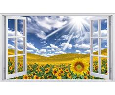 Sticker finestra, motivo: girasoli, rif. 5396, 80x48cm