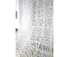 Tenda Tulle Motivo Fiore Floccato Decorazioni Interni Finestre Letto, Misura 100*200cm - Bianco