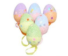 Amosfun 6pcs Che appendono Le Uova di Pasqua Decorative Che appendono Le Uova di Pasqua per Le Decorazioni DIY di Pasqua dei Mestieri