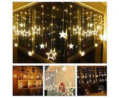SUAVER Luci della stringa tenda LED con 138LED e 12 stelle pendenti,a batteria,per esterni e interni,impermeabile,luci decorative per Natale,matrimonio,camera da letto,giardino