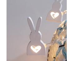 LEDMOMO Catene Luminose LED a Batteria 10 LED Cuore Coniglietto Coniglio di Pasqua Decorative (Luce Bianca Pura)