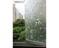 Rabbitgoo®Pellicola Per Finestre e Vetri-3D Fiori Decorative,Non-Colla,Autoadesiva,Privacy 60cm x 200cm
