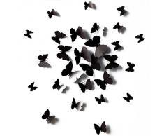 12 artigianato di pezzi 3D farfalla stile adesivi decorativi parete carta da parati Art decorazioni casa camera decorazione fai da te nero