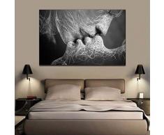 ZEMER Bacio Stampe e Quadri su Tela Immagine Senza Cornici Coppia Romantica Che Si Bacia Astratto Decorazione di Arte della Parete Giclée Stampa Artistica,A,60x100