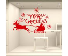 NT0350 Adesivi Murali - Slitta una renna - Vetrofanie natalizie - Misure 120x60 cm - rosso - Vetrine negozi per Natale, stickers, adesivi